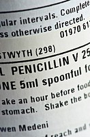 The label on a bottle of penicillin antibiotic medicine, UK