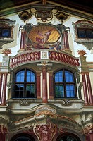 Tromp l'oeil frescoes from 1784, Pilatushaus, Oberammergau, Bavaria, Germany
