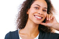 Young laughing casual female over white background