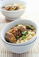 Moroccan chicken dish with chick_peas and couscous