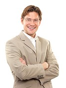 Portrait of a cheerful young businessman with arms crossed