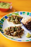 Carne Asada Beef Tacos Tacos with Rice and Beans
