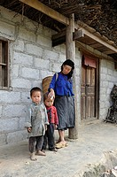 grand mother and her grandchildren,around Sa Phin,Dong Van plateau,Ha Giang province,northern Vietnam,southeast asia