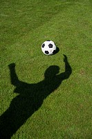 Ball on grass, shadow of a person