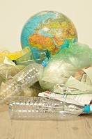 Recyclable waste and globe