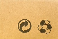 Two recycling symbols on cardboard, Germany