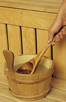Wooden Extraction_Bucket with a Spoon _ Sauna