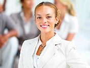 Closeup portrait of a smiling young businesswoman