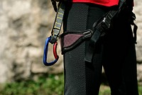 Climbing equipment worn by a man