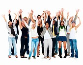 Group of young happy people waving their arms,copyspace