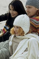 Three Friends in warm Clothing at the Beach _ Leisure Time _ Friendship _ Trip _ Season