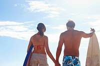 Young couple with surf boards holding hands with blue sky as the background