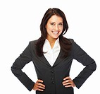 A delighted young business woman posing against white background