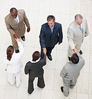 Upward view of a business people shaking hands