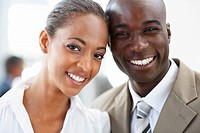 Closeup portrait of cheerful African American business people