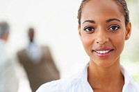 Closeup portrait of a happy African American business woman