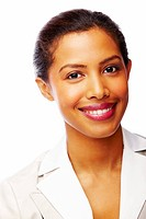 Closeup portrait of a cheerful African American business woman against white background