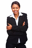 Portrait of a cheerful young business woman standing with hands folded