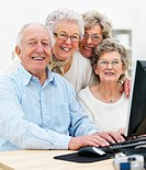 A group of old people working at home on computer