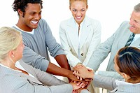 Teamwork _ business team with hands put together