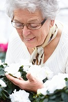 Closeup portrait of a happy senior woman looking at flowers