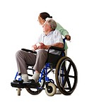 Retired couple over white , senior man on the wheelchair