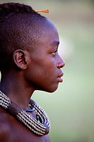 Himba boy with the typical necklace, Kaokoland, Namibia