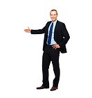 Full length businessman offering handshake isolated on white