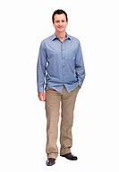 Full length portrait of a smart middle aged man isolated on white background