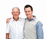 Portrait of a handsome son with his father against white background