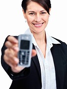 Closeup of a beautiful young business woman displaying a cellphone _ Isolated on white