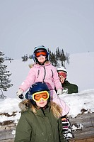Portrait of a family in a slalom slope, Sweden.