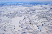 Aerial view of Mackenzie river and delta in winter, North West Territories, Canada