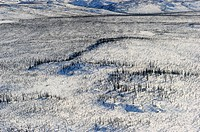 Aerial view of Mackenzie delta in winter, North West Territories, Canada