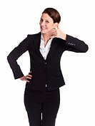 Call Me _ Mature business woman signaling you to call her isolated on white