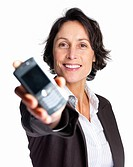 Portrait of a pretty business woman displaying a cellphone isolated on white
