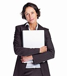Portrait of a successful businesswoman holding a laptop isolated on white background