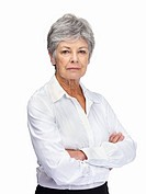 Portrait of confident senior woman with arms folded isolated over white background