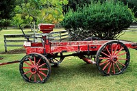 Wooden wagon, Rancho Sisquoc Winery, along Foxen Canyon Road, Santa Barbara County, California