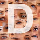 Alphabet against background of different human eyes _ Montage