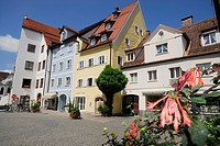 Colous houses in a square of Füssen, Bavaria, Germany