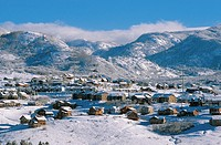 Mountain resort residential neighborhood in winter, Steamboat Springs, Colorado, USA