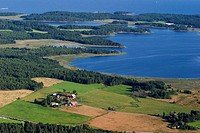 Aerial view of the archipelago of Lake Vaner, Sweden.