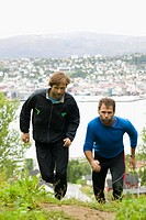 Two men running, Norway.