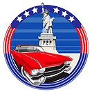vectorial image of vintage car on a background American symbolism with Statue of Liberty