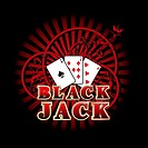 Vectorial composition with three cards and golden style inscription 'Black Jack' on background with red rays and ornaments