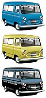 Vectorial icon set of English old-fashioned vans with right-side steering wheel isolated on white backgrounds  Every van is in separate layers  File c...