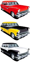 Vectorial icon set of American old-fashioned station wagons isolated on white backgrounds  Every cars is in separate layers  File contains gradients a...