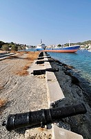 Old cannons at Faros area, old port, Spetses town, Spetses island, Greece