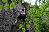 Climbing wall in an exercise